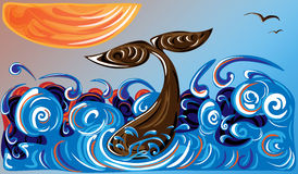 Baleine à l'océan et au soleil orange illustration libre de droits
