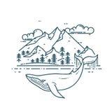 Baleine énorme avec le paysage de montagnes illustration libre de droits