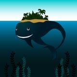 Baleine avec l'île sur le sien de retour Photo libre de droits
