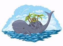 Baleine avec l'île sur le sien en arrière Image libre de droits