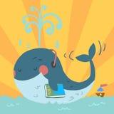 Baleine bleue mignonne de bande dessinée de vecteur Image libre de droits