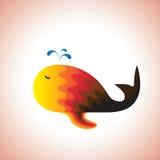 Baleine colorée heureusement nageant et pulvérisant l'eau Image stock