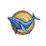 Baleine d'aquarelle et le soleil Photo libre de droits