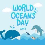 Baleine, dauphin, requin et tortue dans l'océan avec le jour d'océans du monde des textes vecteur d'espèce marine pour le jour d' illustration libre de droits