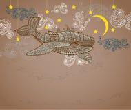 Baleine de Steampunk en ciel nocturne illustration de vecteur