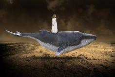 Baleine de vol, paix, nature, renaissance de Spirtual, amour Image libre de droits