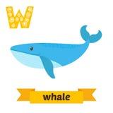 baleine Lettre de W Alphabet animal d'enfants mignons dans le vecteur drôle Photographie stock