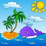 Baleine près de l'île tropicale avec des paumes Image stock