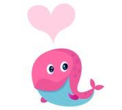 Baleine rose mignonne avec la forme de coeur dans l'amour illustration de vecteur