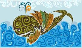 Baleine sur des vagues illustration stock