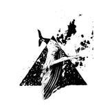 Baleine tirée par la main dans le style grunge Images stock