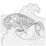 Baleine tirée par la main dans les vagues pour la page antistress de coloration avec illustration de vecteur