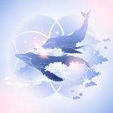 Baleines graphiques volant dans le ciel illustration libre de droits