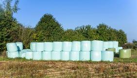 Balen van stro in plastiek worden verpakt dat Royalty-vrije Stock Foto