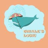 Balena con un ombrello Immagine Stock