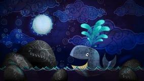 Balena di stile del fumetto nella notte Fotografie Stock