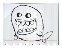 Balena disegnata a mano Immagini Stock
