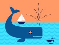 Balena nel nuoto dell'oceano sotto una barca a vela Fotografia Stock Libera da Diritti
