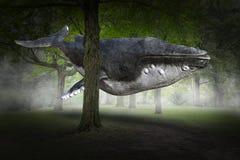 Balena surreale di volo, foresta, natura immagine stock
