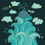 Balena sveglia sulle onde Immagini Stock