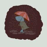 Balena triste con un ombrello Immagine Stock Libera da Diritti