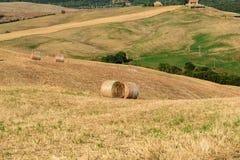 Baler av hö i mitt av ett fält i Val d& x27; Orcia Tuscany Royaltyfria Foton