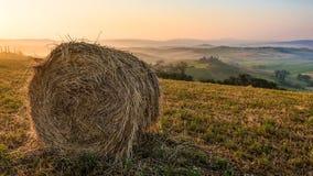 Baler av hö på fält för en sommar på soluppgång i Tuscany arkivfoto