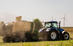 Baler at the haymaking. Process in s. h. in germany stock photo