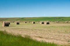 Baler och windmills på prarien Fotografering för Bildbyråer