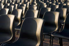 Balera. Chairs in a square near the sea ready for the concert Stock Photos