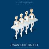 balerin czarny dancingowe ilustracje ustawiający wektorowy biel Łabędzi Jeziorny balet Obrazy Royalty Free