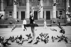 Balerina pozuje wśród ptaków Obraz Stock