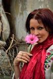 Balerina z sceny Nakreślenie z kwiatem obraz stock