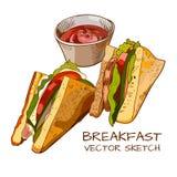 Baleron i jarzynowa kanapki ilustracja Fotografia Stock