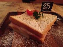 Baleron i serowa kanapka Zdjęcia Stock