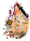 Baleron, oliwki, wino i hazelnuts, Zdjęcia Stock