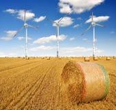 Bales сторновки на сельскохозяйственне угодье с ветротурбиной Стоковая Фотография RF