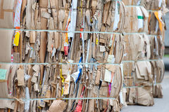 Bales of cardboard and box board with strapping wire ties Royalty Free Stock Images