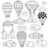 Balões de ar quente ajustados Fotografia de Stock