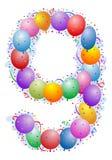 Balões e confetti número 9 Imagem de Stock