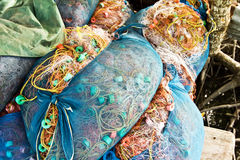 Bales of fishing nets in a villiage in Koh Chang Stock Images