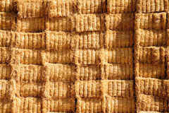 Bales of hay. Stacked bales of hay in the country Stock Image