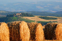 Bales of hay. Lay in a row, overlooking the hilly surroundings Stock Photography