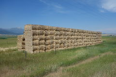 Bales of hay stacked neatly at a farm in idaho Royalty Free Stock Photo