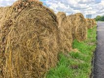 Bales of hay stacks in the fields farming agriculture landscape photo. Bales of hay stacks in the fields farming agriculture landscape royalty free stock photography