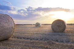 Bales of hay sunset Royalty Free Stock Photography