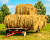 Bales of hay on a wagon. Harvested bales of hay on a wagon Stock Photos