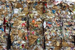 Bales of recycling paper Royalty Free Stock Photos