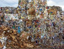 Bales of recycling paper Stock Image
