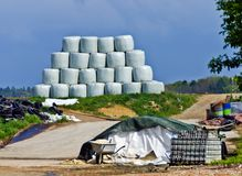 Bales of silage wrapped in waterproof film Royalty Free Stock Image